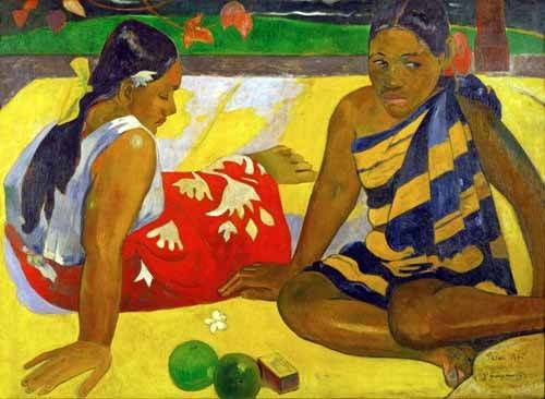 tableaux-de-personnages - Tableau -Two women from Tahiti (Oil on canvas) (1892)- - Gauguin, Paul