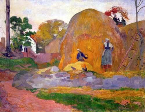tableaux-de-paysages - Tableau -The yellow haystack, 1889- - Gauguin, Paul