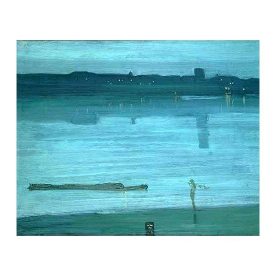 pinturas de paisagens marinhas - Quadro -Nocturne, Blue and Silver_Chelsea, 1871-