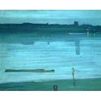 Tableaux de paysages marins - Tableau -Nocturne, Blue and Silver_Chelsea, 1871- - Whistler, James Abbot McNeill