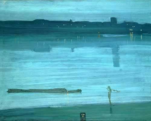 tableaux-de-paysages-marins - Tableau -Nocturne, Blue and Silver_Chelsea, 1871- - Whistler, James Abbot McNeill