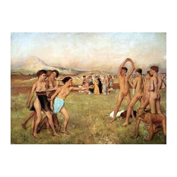 pinturas do retrato - Quadro -Young Spartans Exercising, 1860-