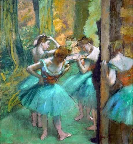 tableaux-de-personnages - Tableau -Danseurs roses et verts, 1890- - Degas, Edgar