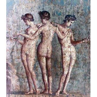 Tableaux de Nus - Tableau -Las tres Gracias- Frescos de Pompeya- - _Anónimo Romano