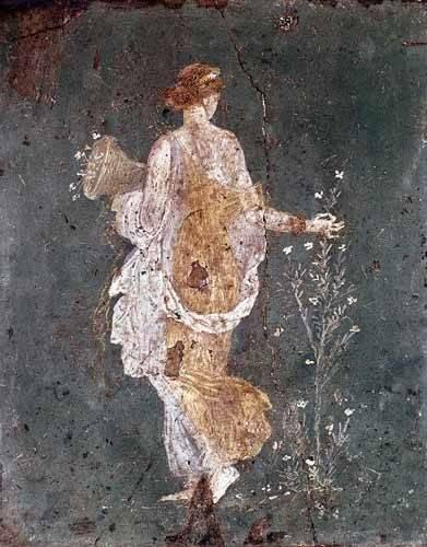 tableaux-pour-couloir - Tableau -Fille cueillant des fleurs, (Pompéi)- - _Anónimo Romano