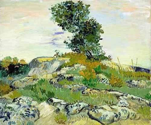 tableaux-de-paysages - Tableau -Les rochers avec chêne, 1888 (oil on canvas).- - Van Gogh, Vincent