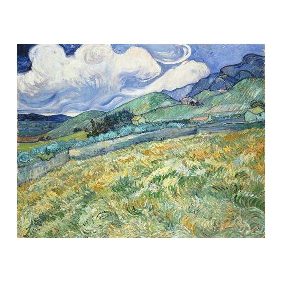 pinturas de paisagens - Quadro -The Green Wheatfield behind the Asylum, 1889-