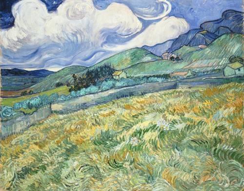 tableaux-de-paysages - Tableau -Campagne montagneuse derrière l'hôpital St Paul, 1889- - Van Gogh, Vincent
