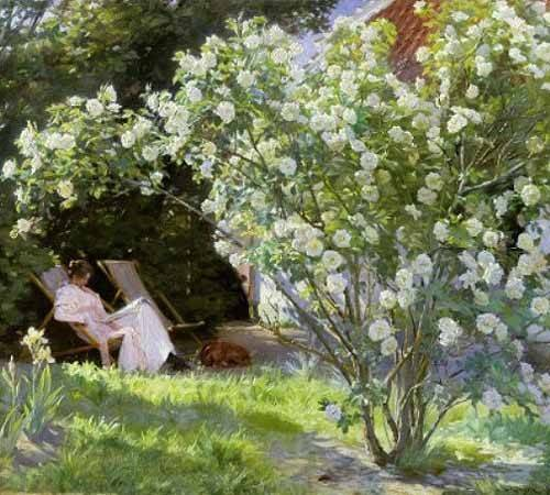 tableaux-de-fleurs - Tableau -Line Roses (The artists wife at Skagen)- - Kroyer, Peder Severin
