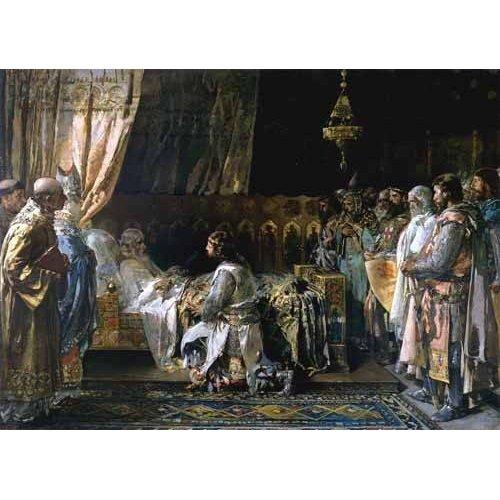 pinturas do retrato - Quadro -Los ultimos momentos del rey Don Jaime I El Conquistador-