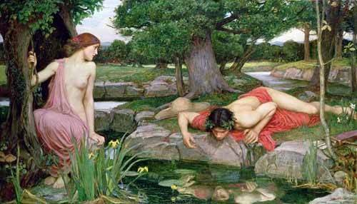cuadros-decorativos - Tableau -Écho et Narcisse, 1903- - Waterhouse, John William