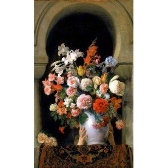 Tableaux de Fleurs - Tableau -Vase of flowers on a harem s window- - Hayez, Francesco