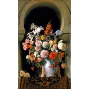 Tableau -Vase of flowers on a harem s window-