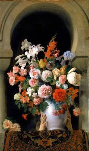 tableaux-de-fleurs - Tableau -Vase of flowers on a harem s window- - Hayez, Francesco