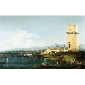 Tableaux de paysages marins - Tableau -La torre di Marghera- - Canaletto, Giovanni A. Canal