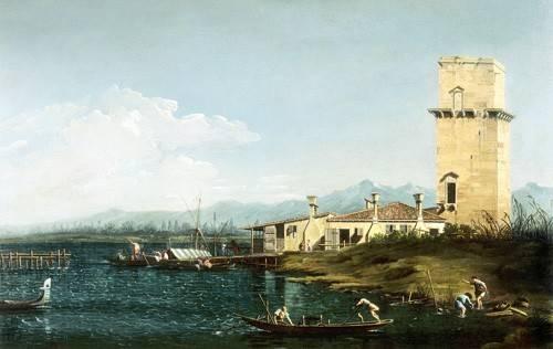 tableaux-de-paysages-marins - Tableau -La torre di Marghera- - Canaletto, Giovanni A. Canal