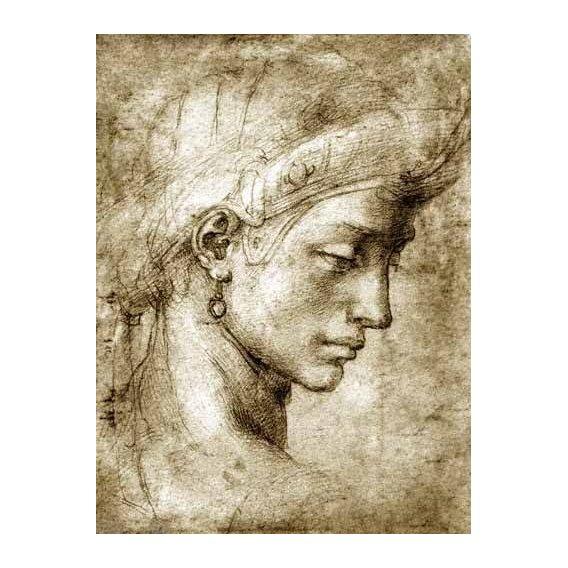 imagens de mapas, gravuras e aquarelas - Quadro -Cabeza femenina con pendiente-