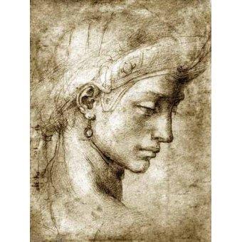 Tableaux cartes du monde, dessins - Tableau -Tête de femme avec boucle d'oreille- - Buonarroti, Miguel Angel
