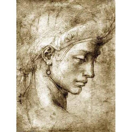 Tableau -Tête de femme avec boucle d'oreille-