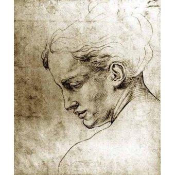 Tableaux cartes du monde, dessins - Tableau -Volto di giovane visto di profilo- - Buonarroti, Miguel Angel