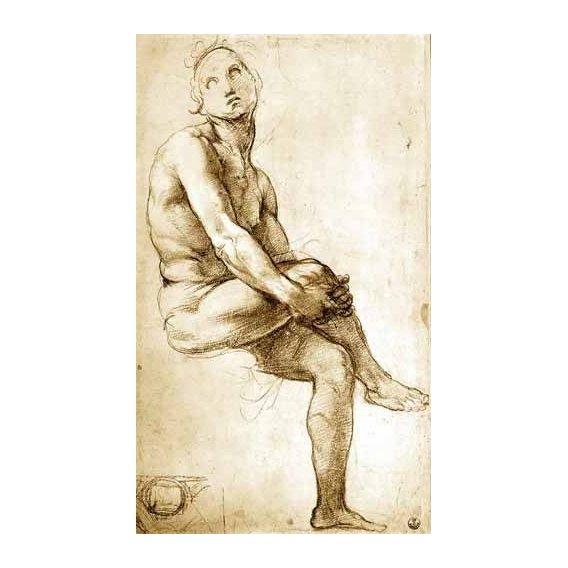 imagens de mapas, gravuras e aquarelas - Quadro -Desnudo masculino sentado-