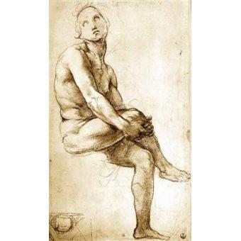 Tableaux cartes du monde, dessins - Tableau -Desnudo masculino sentado- - Raphaël, Sanzio da Urbino Raffael