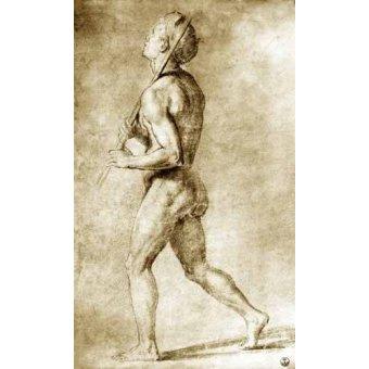 Tableaux cartes du monde, dessins - Tableau -Estudio de desnudo masculino- - Raphaël, Sanzio da Urbino Raffael