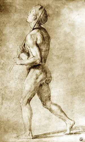 tableaux-cartes-du-monde-dessins - Tableau -Estudio de desnudo masculino- - Raphaël, Sanzio da Urbino Raffael