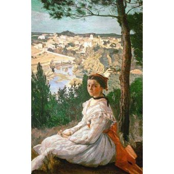 - Tableau -Girl in a striped dress- - Bazille, Frederic