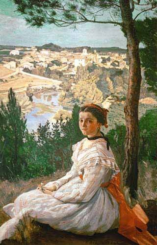tableaux-de-paysages - Tableau -Girl in a striped dress- - Bazille, Frederic