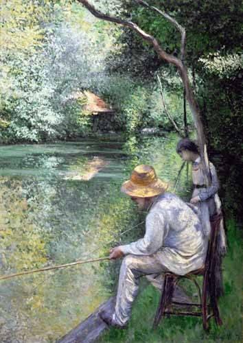 tableaux-de-paysages - Tableau -Peche a la ligne - Angling, 1878- - Caillebotte, Gustave