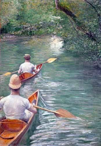 tableaux-de-paysages - Tableau -The Canoes, 1878- - Caillebotte, Gustave
