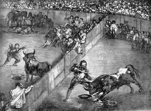 tableaux-cartes-du-monde-dessins - Tableau -Plaza partida- - Goya y Lucientes, Francisco de