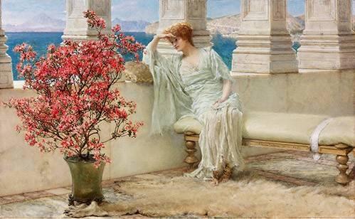 tableaux-de-personnages - Tableau -Su mirada y sus pensamientos se encuentran en la lejania, 1897- - Alma-Tadema, Lawrence