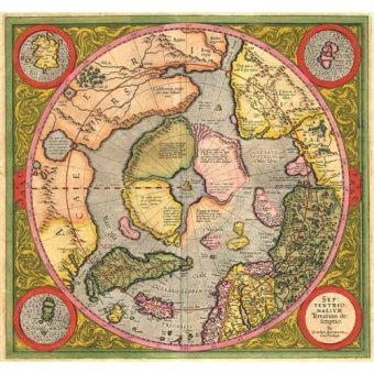 Tableaux cartes du monde, dessins - Tableau -Antique Map, Mercator North Pole- - Anciennes cartes