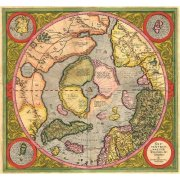 Tableau -Antique Map, Mercator North Pole-