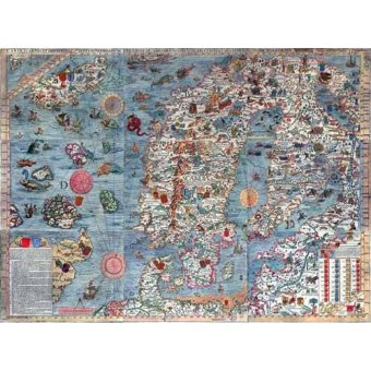 Tableaux cartes du monde, dessins - Tableau -Carta Marina, Edited- - Anciennes cartes