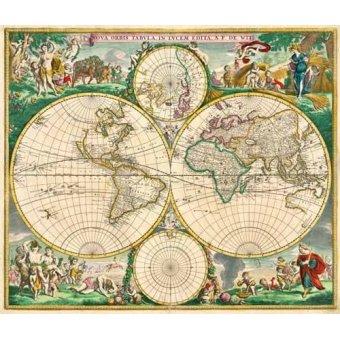 Tableaux cartes du monde, dessins - Tableau -Nova Orbis de Wit, 1670- - Anciennes cartes