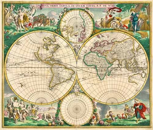 tableaux-cartes-du-monde-dessins - Tableau -Nova Orbis de Wit, 1670- - Anciennes cartes