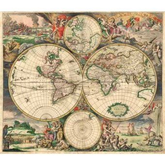 Tableaux cartes du monde, dessins - Tableau -Gerard van Schagen, World Map 1689- - Anciennes cartes
