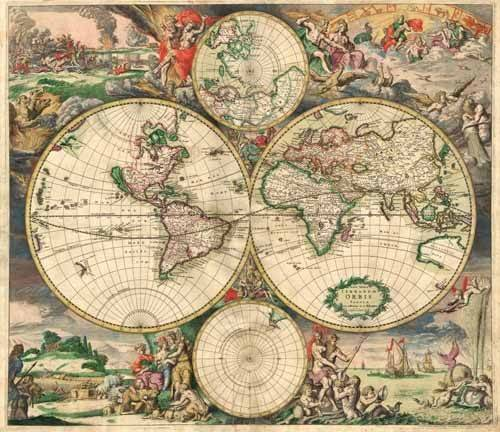 tableaux-cartes-du-monde-dessins - Tableau -Gerard van Schagen, World Map 1689- - Anciennes cartes