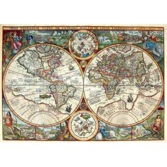 Tableaux cartes du monde, dessins - Tableau -1594, Orbis Plancius- - Anciennes cartes