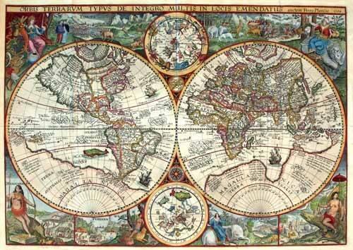 tableaux-cartes-du-monde-dessins - Tableau -1594, Orbis Plancius- - Anciennes cartes