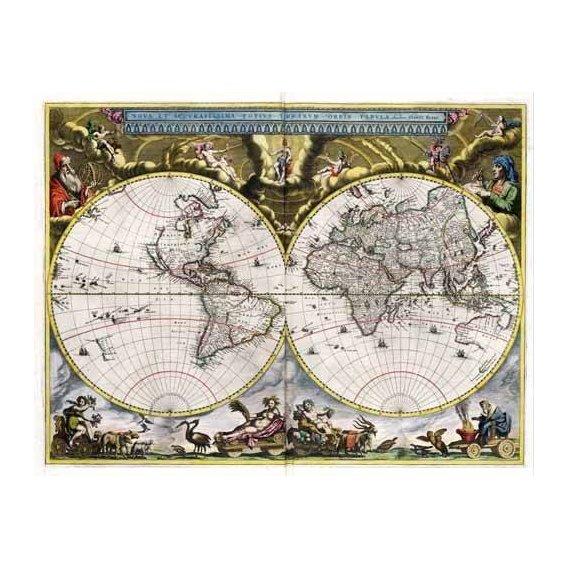 imagens de mapas, gravuras e aquarelas - Quadro -Nova et Accuratissima Terrarum Orbis Tabula (J_Blaeu, 1664)-