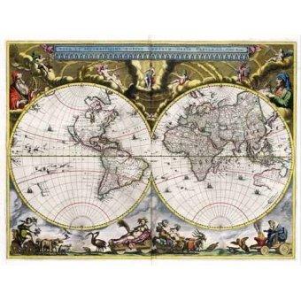 Tableaux cartes du monde, dessins - Tableau -Nova et Accuratissima Terrarum Orbis Tabula (J_Blaeu, 1664)- - Anciennes cartes