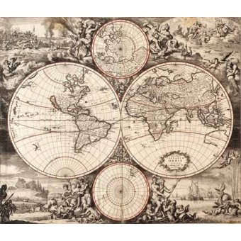 Tableaux cartes du monde, dessins - Tableau -Nova totius terrarium orbis (De Wit, Luyken, De Hooghe)- - Anciennes cartes