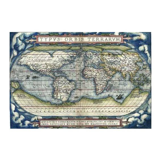 imagens de mapas, gravuras e aquarelas - Quadro -Ortelius World Map, 1570-