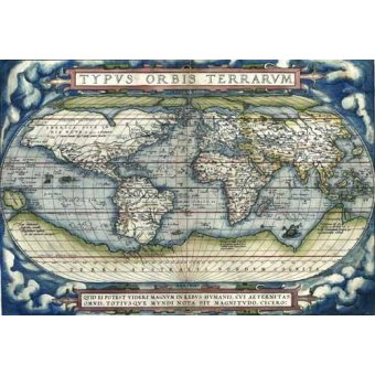 Tableaux cartes du monde, dessins - Tableau -Ortelius World Map, 1570- - Anciennes cartes
