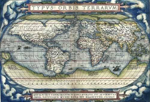 tableaux-cartes-du-monde-dessins - Tableau -Ortelius World Map, 1570- - Anciennes cartes