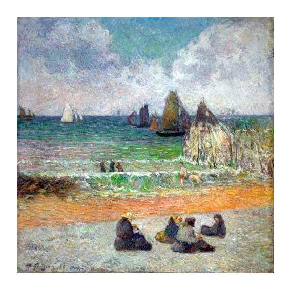 pinturas de paisagens marinhas - Quadro -La plage a Dieppe ou les Baigneuses, 1885-